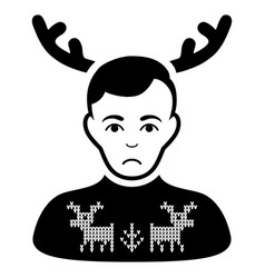 Sad deers pullover horned husband black icon vector