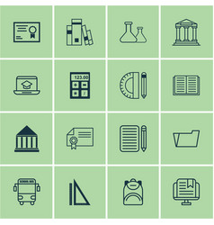Set of 16 school icons includes certificate e vector