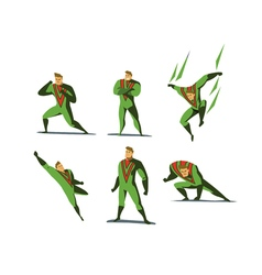 set of Superhero actions different poses vector image vector image