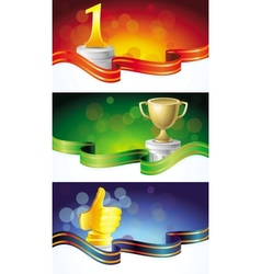 set with winner banners vector image