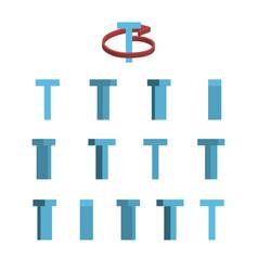Sheet of sprites rotation of cartoon 3d letter t vector