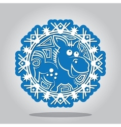 Snowflake of the Horse the Chinese zodiac vector image vector image