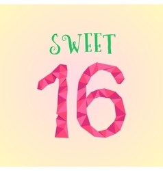 sweet sixteen with polygonal number vector image