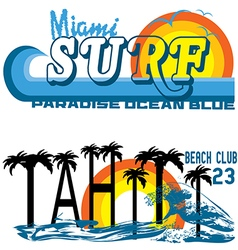 Tahiti tropical set miami and tahiti vector