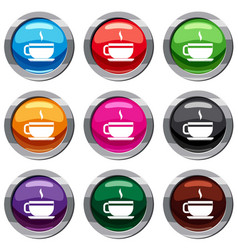 tea cup and saucer set 9 collection vector image vector image