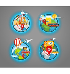 Vacation travelling icons collection travel vector