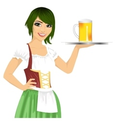 Waitress holding tray with beer mug vector