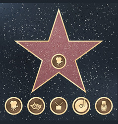 walk of fame star granite sign on sidewalk with vector image
