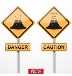 Warning road signs about the dangers of volcano vector