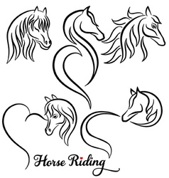 Horse riding set vector image