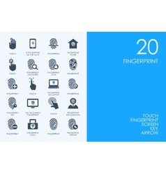 Set of blue hamster library fingerprint icons vector