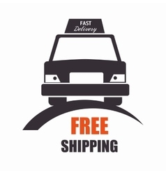 free shipping car front view icon vector image