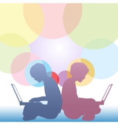 Girl and boy use laptops vector