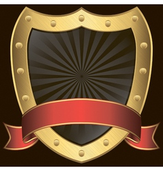 Golden shield with rd ribbon vector