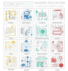 Infographics mini concept modern education icons vector