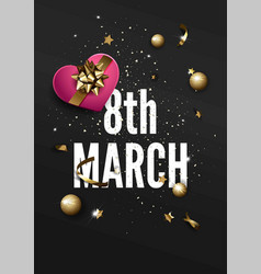 8 march greeting card with golden sparkling stars vector