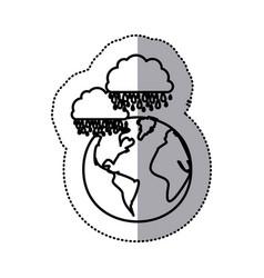 monochrome sticker contour of cloud with rain over vector image