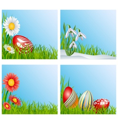 Easter corner decoration set vector