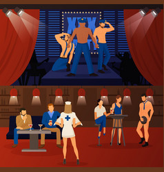 Club striptease banners set vector