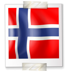 norway flag on square paper vector image