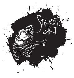 Graffiti guy makes street art on wall vector
