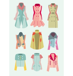 collection of woman coats and jackets vector image