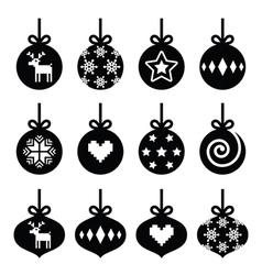 Christmas ball christmas bauble icons set vector image