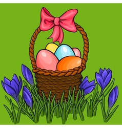 Easter egg basket with spring flowers vector