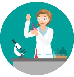 Affable chemist woman doing an experiment or test vector