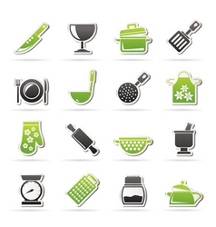 Cooking equipment icons vector