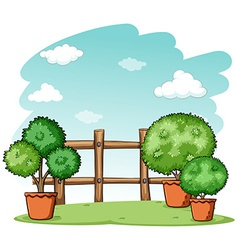 Garden with a fence vector