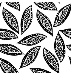 Black ornamental leafs seamless pattern vector