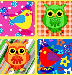 Seamless patchwork birds-2 vector