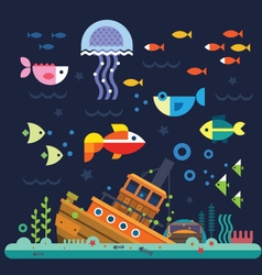 Underwater sea life vector