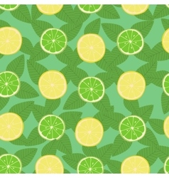 Lemon lime and mint leaves seamless pattern vector