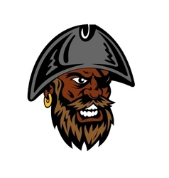 Yelling cartoon bearded pirate in captain hat vector