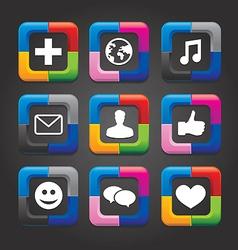 Social media buttons vector