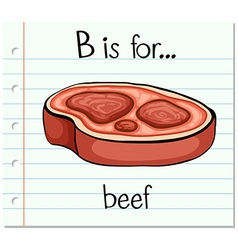 Flashcard alphabet b is for beef vector