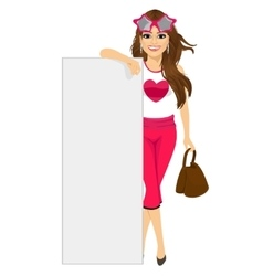 Young fashion woman leaning on blank white board vector image