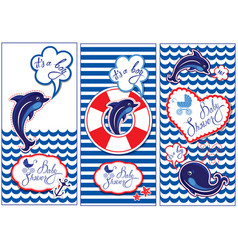 Baby boy shower nautical set party decoration vector