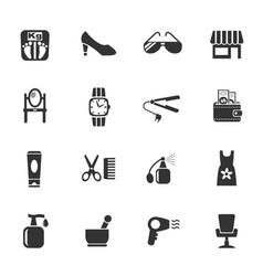 beauty salon icon set vector image vector image