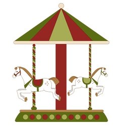 carousel with horses for children vector image