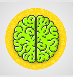 cartoon green brain sign in yellow circle with vector image