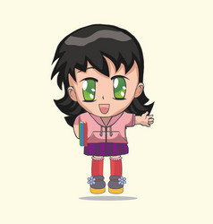 Cute anime chibi little girl vector