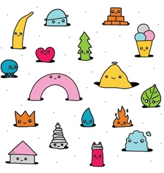 Cute hand drawn cartoon pattern vector image vector image