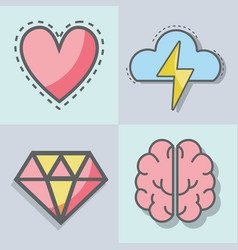 Flat line set icon mental health vector