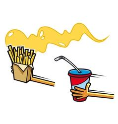 Fresh soda drink and potato snacks vector image vector image