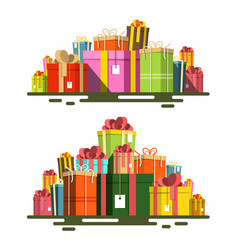 gift boxes flat design present box heap isolated vector image