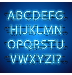 Glowing neon blue alphabet vector