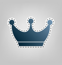 King crown sign blue icon with outline vector